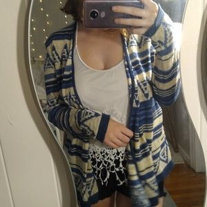 Chaps Blue and White Striped Patterned Cardigan